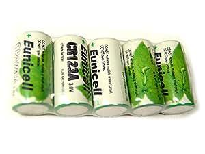 Lot de 5 Piles Cr123A 3V Lithium 1500mAh Eunicell