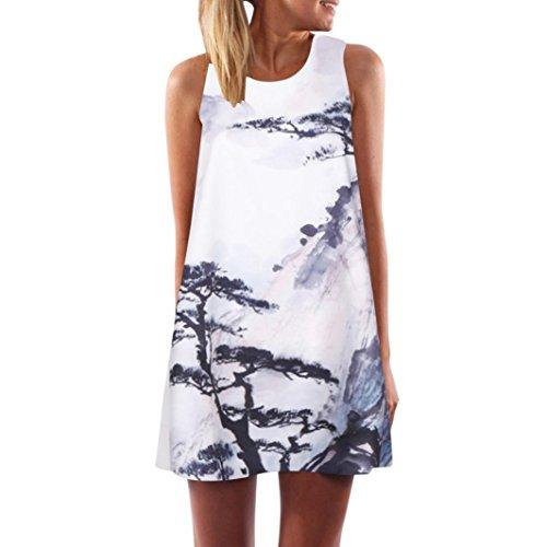 VEMOW Vintage Boho Frauen Sommerkleider Sleeveless Strand Gedruckt Kurzes Minikleid Eine Linie Abendkleid Täglich beiläufige Partei Weste T-Shirt Kleid Plus Size Rock(X1Weiß 12, EU-44/CN-L)