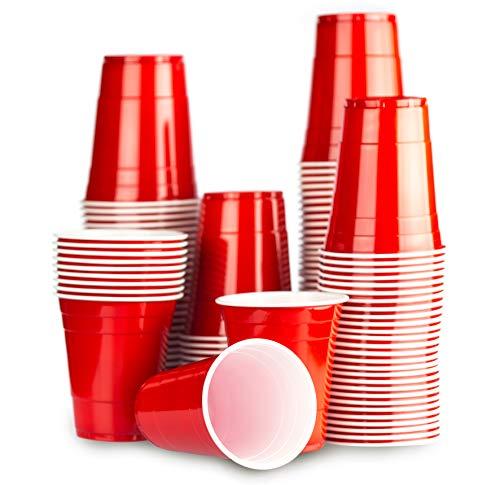 1000 x Red Cups - Gobelet Rouge Américain - Beer Pong Original 50cl - Party Grand jetables Verres en plastique 16oz - Plusieurs couleurs | College & anniversaire tasses - Red Celebration