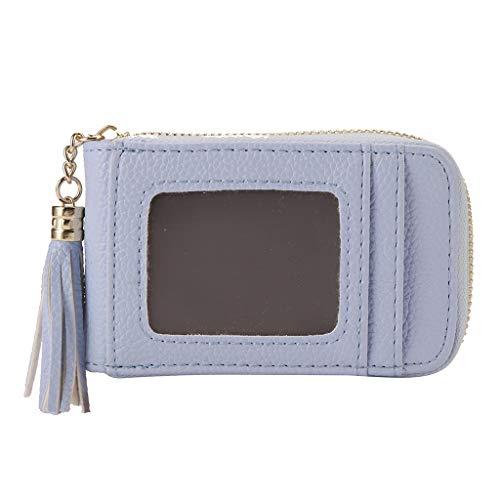 Damen Coin Purse Card-Paket Mode Quaste Multi-Funktions-Multi-Card Portable Brieftasche Herren Leder Damen Vintage Münzfach Geldbeutel Brieftasche Ledergeldbörse Geldbörsen (Blau) -