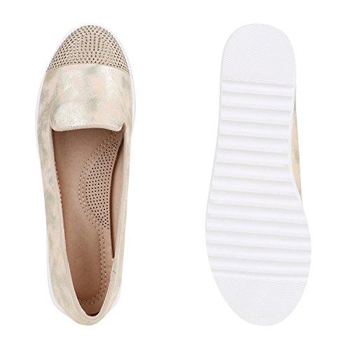 Damen Loafers Quasten Glitzer Slipper Profilsohle Dandy Geek Gold Strass