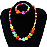 El Regalo's Kids Jewelry | Colorful Heart Jewelry Set for Girls | Necklace Bracelet Set For Little Girls Children