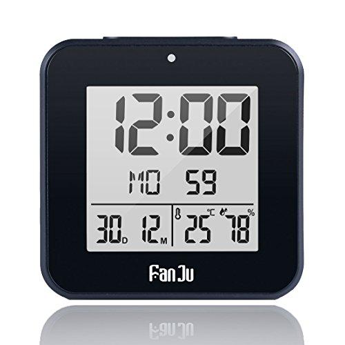 FanJu FJ3533B Digital Wecker Kleiner mit Doppelalarm / Batterie Betrieben / Auto-Nachlicht / Innentemperatur und Luftfeuchtigkeit / Schlummerfunktion / Datum / Uhren fürs Kinderzimmer