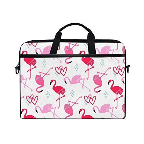 Bennigiry Flamingo + No+Logo-03 Laptoptasche aus Segeltuch, Messenger Bag, Aktentasche für 38,1-39,1 cm (15-39,4 Zoll) -