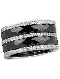 Schwarzer Ring Keramik mit Zirkonia und 925er Silber Gothic Deluxe