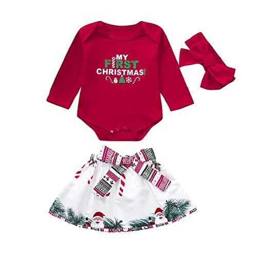 VICGREY ❤ Outfit Natale Set, Neonata Bambina di Natale Stampa Lettera Romper + Bow Gonna + Fasce Set Vestiti di Natale