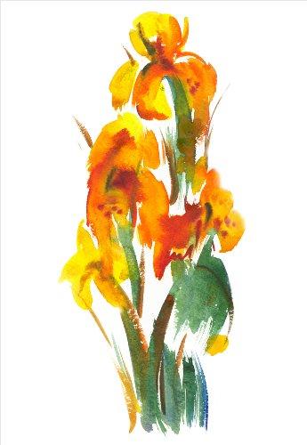 MOOL Hundebett, groß, 32 x 22, Design Floral Watercolour Leinwand von Hand gespannt auf Holzrahmen mit Giclée-Druck wasserdicht, lackiert, fertig zum Aufhängen, Gelb (Holzrahmen Hundebett)