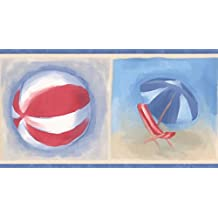 Chesapeake Playa Flip Flops bola silla paraguas cubo y pala de frontera de fondo Beige rojo