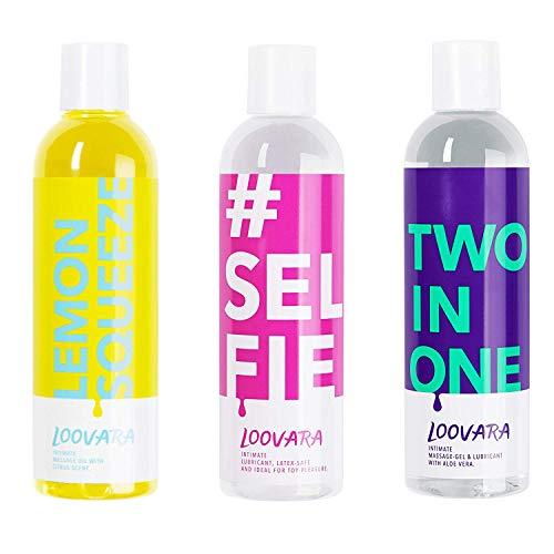 Loovara Vorteilspack - Gleitgel und Massageöl im günstigen 3er Set – pflegendes Gel und Öl im...
