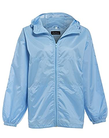 New Women's Raincoat Mac Rain Jacket Sky Blue Size 16 18 (L, Blue)