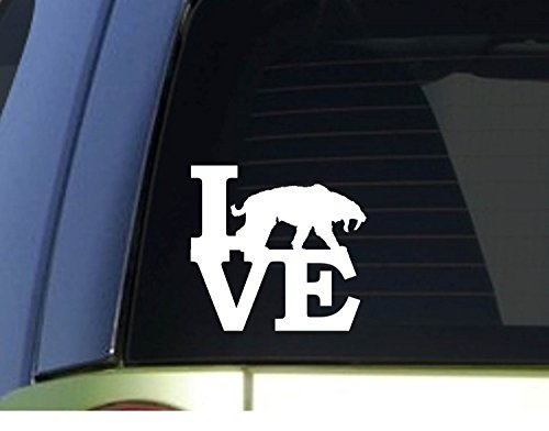 Saber Tooth Tiger Love *H947* 6 Inch Sticker Decal T Rex Dinosaur Fossils Cave Decal Vinyl Sticker for Cars, Trucks, Laptops, Fridge and More -
