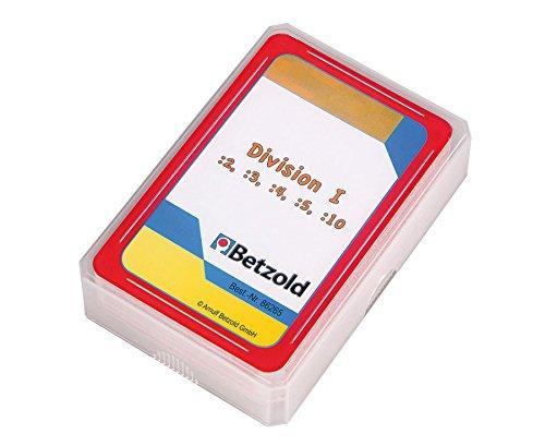 Preisvergleich Produktbild Betzold 48 Karten Division I :2, :3, :4, :5, :10, im praktischen und stabilen Kunststoffetui - Mathematik Kartenspiel Rechenspiel dividieren rechnen Grundschule Lehrmittel