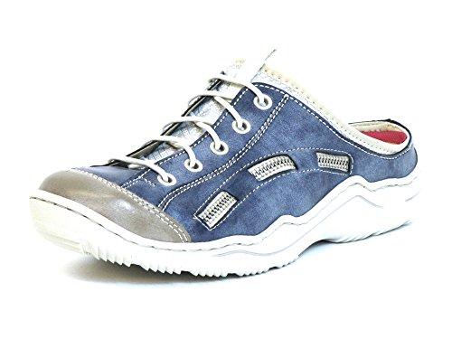 Rieker Damen L0523 Clogs, Blau (steel/jeans/silverflower), 38 EU
