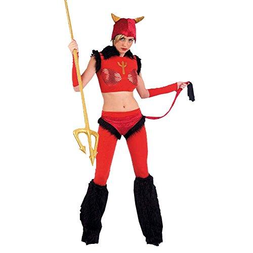 Freche Teufelin Kostüm, mehrteilig, bauchfrei, mit Armstulpen, enger Schnitt, Herrin der Unterwelt - L