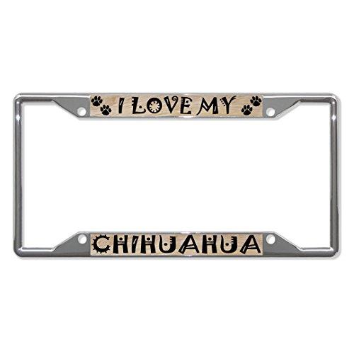 Metall-Kennzeichenhalter für Chihuahua, Hund, 4 Löcher, perfekt für Männer und Frauen, Auto-Garadge Dekor