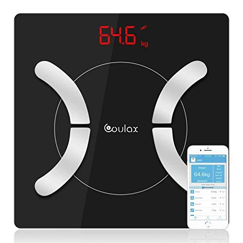 Coulax Körperfettwaage mit App Smart Bluetooth Digitale Personenwaage - Körperwaage für iOS & Android Smart Waagen Körperfettmonitor Körperzusammensetzung Analysator Batterie eingeschlossen