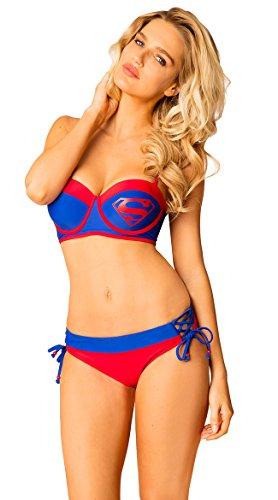 Superman DC Comics Logo Zweiteiliger Bustier Spitze Low Rise Bikini Badeanzug - Blau - (Lois Lane Mann Of Steel Kostüm)