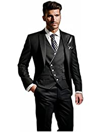 Albrose uno botón novio Groomsman Mens trajes Slim Fit Tuxedos 3piezas Sets
