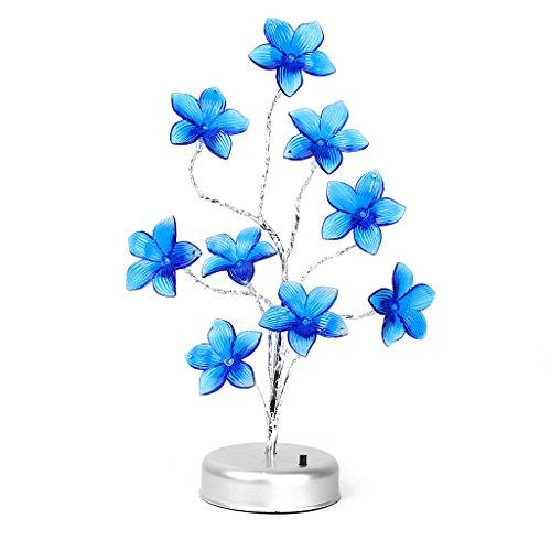 LED Azul en Forma de Flor Lirio Lámpara Luz Decorativa del Hogar