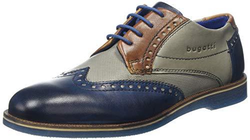 Bugatti 3.12647E+11, Zapatos de Cordones Derby para Hombre, Azul Dark Blue/Grey 4115, 43 EU
