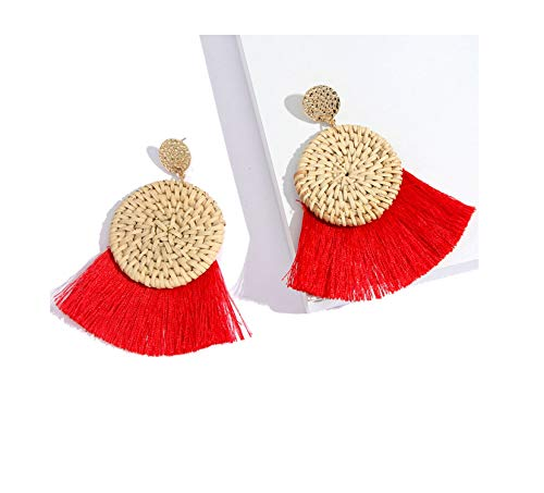 Firenze Gold Kette (Presock Damen Ohrringe Ohrstecker, Round Rattan Tassel Drop Earrings Fashion Jewelry For Women Handmade Bohemia Straw Weave Large Fringe Dangle Earring RD)
