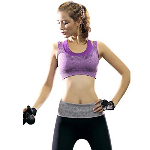 Eleery Brassière Sport Femme Soutien-gorge Top Underwear Bra sans Couture Rembourre Double Couche Yoga Jogging Elastique Sexy Violet
