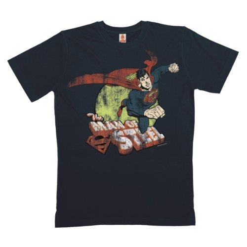 Logoshirt - Superman T-Shirt Bio Baumwolle - DC Comics - Man of Steel - Dunkelblau - Lizenziertes Originaldesign, Größe XXL