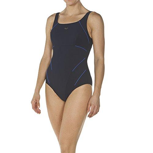 arena Damen Bodylift Badeanzug Jewel B-Cup (Shapingeffekt, Figurformend, Schnelltrocknend, UV-Schutz), Navy-Bright Blue (707), 46 (B-cup)