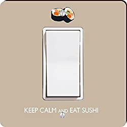 Rikki Knight Keep Calm and Eat Sushi Single Rocker Light Switch Plate, Brown