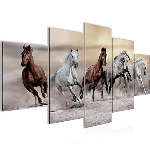 Photo les chevaux Décoration Murale 150 x 75 cm Toison - Taille XXL Salon Appartement Décoration Photos d'art Marron 5 Parties - MADE IN GERMANY - prêt à accrocher 014153a