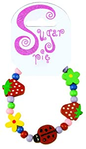 Sugar Pie S01B018 - Pulsera de Madera con diseño de Mariquitas, Flores y pequeñas Cuentas (2 Estilos)