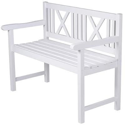 Gartenbank im Landhaus-Stil Sitzbank aus Holz in weiss