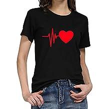 f6ec0fd984fef Camiseta de Mujer Manga Corta Corazón Impresión Blusa Camisa Cuello Redondo  Basica Camiseta Suelto Verano Tops
