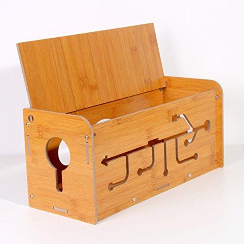 HETAO Holz Kabel Aufbewahrungsbox, Kabel Kabel Manager Fall Box Schreibtisch Tidy Organizer Für Schreibtisch, PC, TV, Haus Und Büro, (Größe: 35 * 14 * 15 Cm)