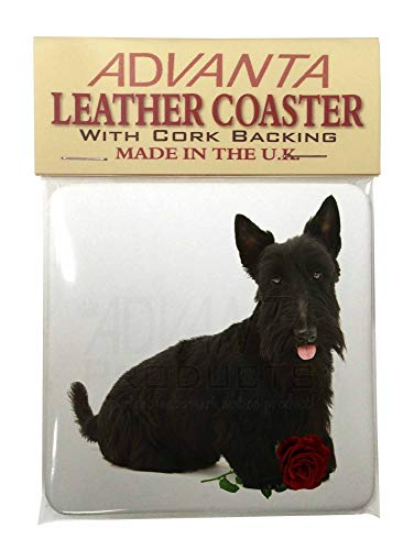 Scottish Terrier mit roter Rose Single Coaster Weihnachtsstrumpf-Füller Geschenk (Rote Single Rose)