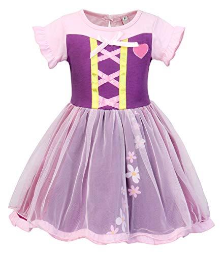 AmzBarley Prinzessin Rapunzel Kostüm Kinder Mädchen Tangled Schick Party Kleid Halloween Cosplay Kleider Karneval Kostüme Geburtstag Ankleiden Urlaub Zeremonie Festzug Kleidung (Tangled Rapunzel Kleid)