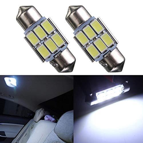 Kungfu Mall 31mm 5630 6-SMD Girlande LED Innen Karte Dome Lichter Birne DE3175 3022 3021 2W Weiß 2PCS (Karte Und Lichtkuppeln)