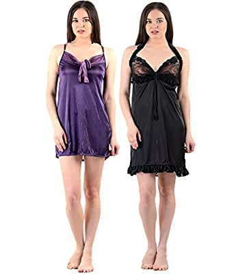 American-Elm Women's Stylish Sexy Nighty- Pack Of 2 (Free Size)