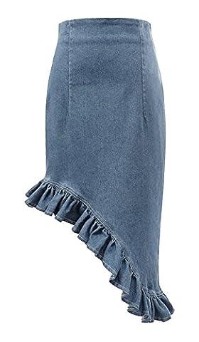 Urban GoCo Women Irregular Design High Waist Flounced Denim Mermaid Skirt (XL, Light Blue)