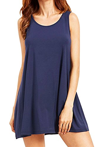 Blue Velvet-mantel (OMZIN Damen Tunika Ärmellos Basic Tank Tops Langes Shirt Mini Sommerkleid Navy Blau XL)
