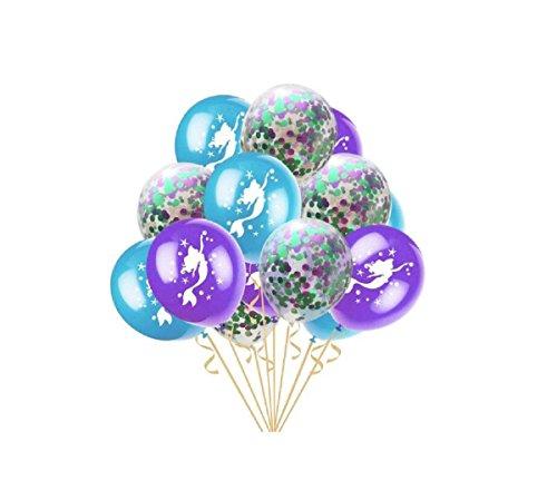 50 stücke Meerjungfrau Party Ballons Konfetti Luftballons Latex Ballons für Party Braut Baby Dusche Meerjungfrau Geburtstag Party Dekorationen, 12 Zoll (Lila & Hellgrün)