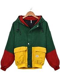 072988fbaa73 Fami Women Long Sleeve Corduroy Patchwork Oversize Zipper Jacket  Windbreaker Coat Overcoat (Vino