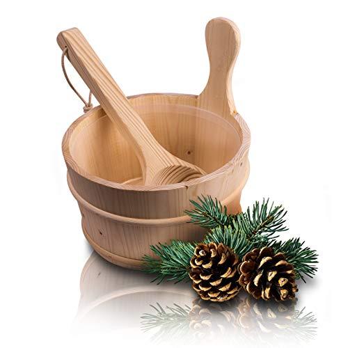 innoGadgets Sauna Eimer mit Kelle aus hochwertigem finnischen Kiefern-Holz   Sauna Zubehör, Saunakübel, Aufgusseimer   Kunststoffaufsatz inklusive - 4 Liter