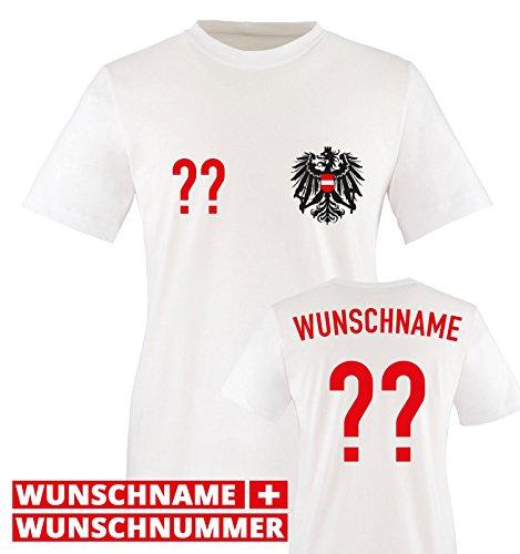Trikot - at - WUNSCHDRUCK - Kinder T-Shirt - Weiss/Rot-Schwarz Gr. 86-92