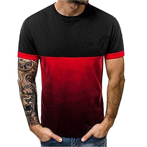 Sommer T-Shirt für Herren/Skxinn Männer Farbverlauf drucken Rundkragen Kurzarm Bluse, Fashion Hemd Patchwork Strand Shirts Tops Blouse Sport Casual Regular Fit Bluse M-3XL Ausverkauf(Schwarz,L2)