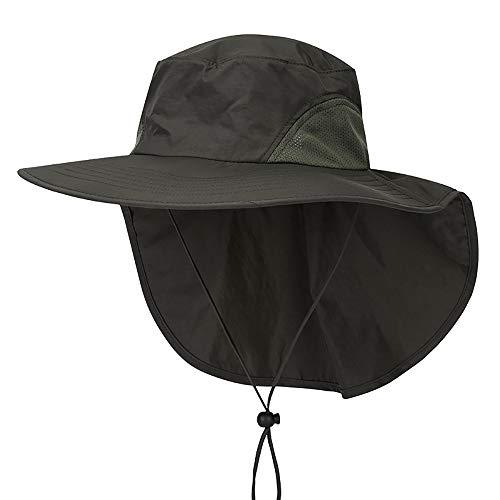 Outdoor Angeln Hut mit Neck Flap Cover breiter Krempe Sun Cap für Männer Frauen Jagd, Wandern, Camping, Bootfahren,Green -
