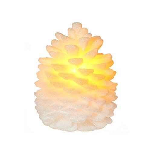 Candela di cono di pino candle light flameless per il regalo di compleanno, 4 & 8 ore timer, a batteria, bianco, candele di natale, decorazioni di natale, regali di natale (4x5 pollici)