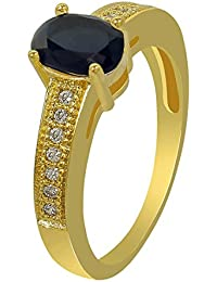 MUCH MORE Gold Polished Work Onyx Stone Added Fashion Ring For Women & Girls Jewelry