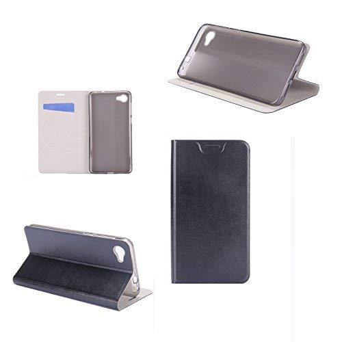 cover alcatel a5 led , digital bay cover custodia [flessibile portafoglio cover] flip case [ecopelle] comodo portafoglio case con stand, jet nero
