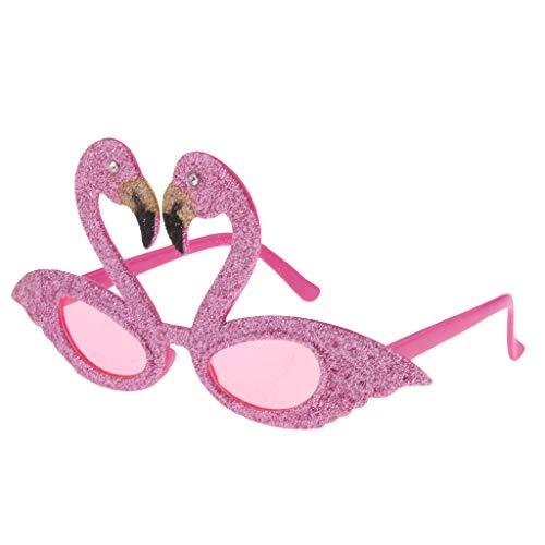 Baoblaze Glitzer Flamingo Brille Sonnenbrille Partybrille Spaßbrille Kostüm Gläser Party Zubehör Hawaii Dekor